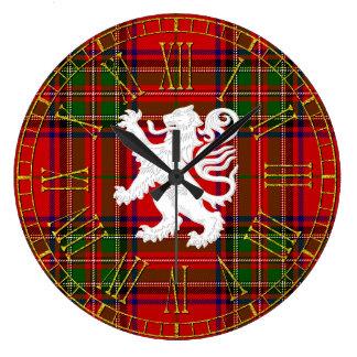 Scottish Lion Rampant on Tartan Large Clock