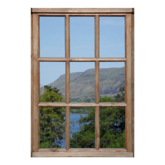 Scottish Loch View from a Window Poster