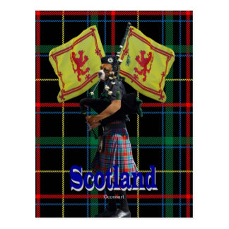 Scottish piper on tartan postcard