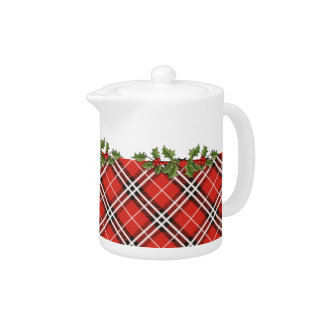 Scottish Plaid Teapot with Holly & Berries - Small