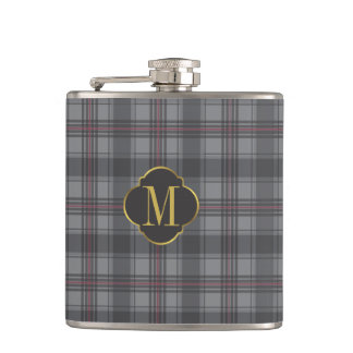 Scottish plaids grey flask