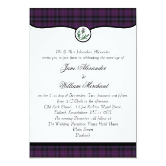 Scottish Purple Tartan Plaid & Thistle Wedding Card