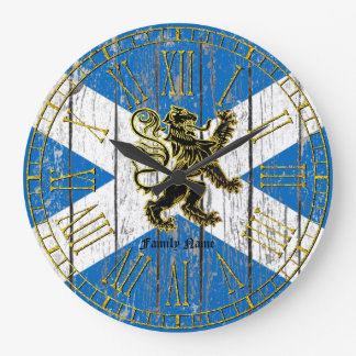 Scottish Rampant Flag Personalize Large Clock