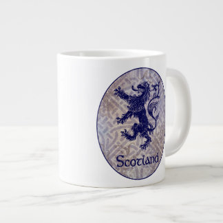 Scottish Rampant Lion Navy Blue Celtic Knot Large Coffee Mug