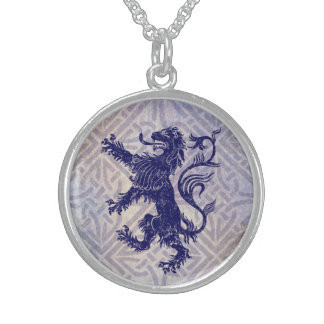 Scottish Rampant Lion Navy Blue Celtic Knot Sterling Silver Necklace