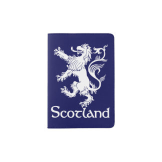 Scottish Rampant Lion Navy Blue Passport Holder