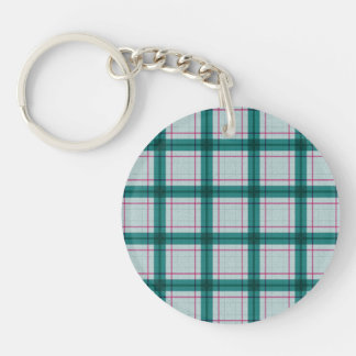 Scottish Red Green White Tartan Double-Sided Round Acrylic Keychain