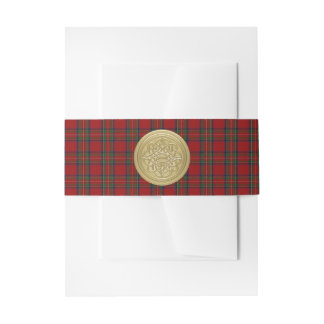Scottish Royal Stewart Tartan and Celtic Knot Invitation Belly Band