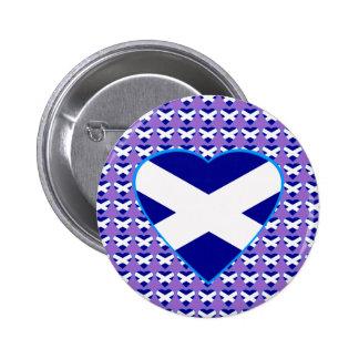 Scottish Saltire Heart Badge 2 Inch Round Button