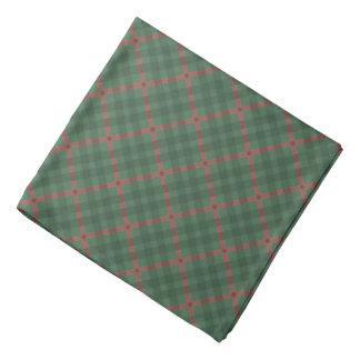 Scottish tartan buffalo plaid pattern green & red bandana