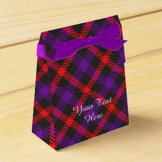 Scottish Tartan Clan Paid Purple Orange Patterned Favor Box