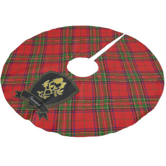 Scottish Tartan Gold Thistle Rose Your Name Brushed Polyester Tree Skirt