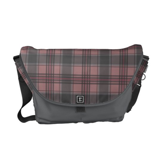 Scottish tartan plaid crimson courier bags