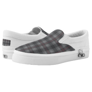 Scottish tartan plaid dark grey Slip-On sneakers