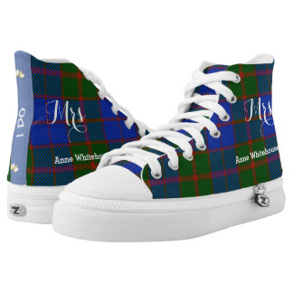 Scottish Tartan Plaid Personalized Brides Wedding High Tops