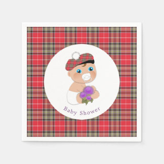 Scottish Tartan |Thistle Baby Shower Personalized Disposable Napkins