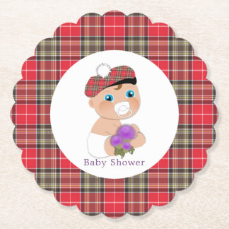 Scottish Tartan |Thistle Baby Shower Personalized Paper Coaster