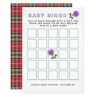 Scottish Tartan |Thistle Flower Baby Shower Bingo Card