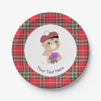 Scottish Tartan |Thistle Flower Cute Baby Shower Paper Plate