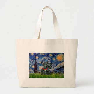 Scottish Terrier 12c -Starry Night Large Tote Bag