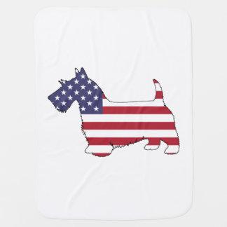 """Scottish terrier - """"american flag"""" baby blanket"""