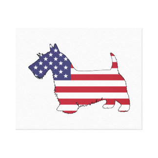 "Scottish terrier - ""american flag"" canvas print"