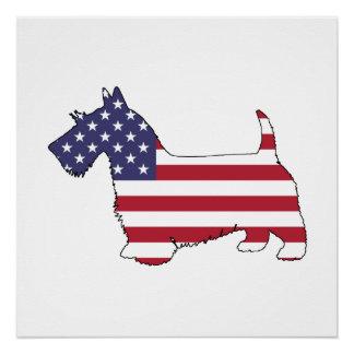 """Scottish terrier - """"american flag"""" poster"""