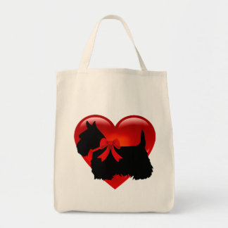 Scottish Terrier black, cletic braid, red heart Tote Bag