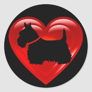 Scottish Terrier black double red heart/bow/collar Classic Round Sticker
