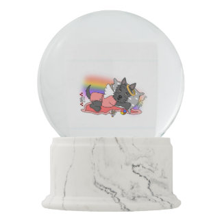 scottish terrier black girl snow globe