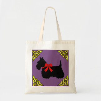 Scottish Terrier black, gold cletic braid, bow Tote Bag