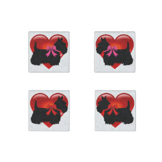 Scottish Terrier black/heart red bow/pink bow Stone Magnets