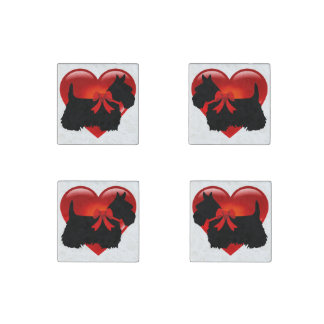 Scottish Terrier black/heart red bow Stone Magnets