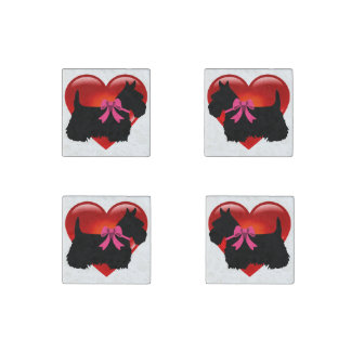Scottish Terrier black/heart red, pink bow Stone Magnets