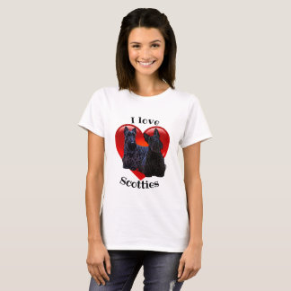 Scottish Terrier black/I love Scotties / red heart T-Shirt