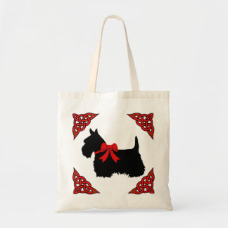 Scottish Terrier black, red cletic braid, bow Tote Bag