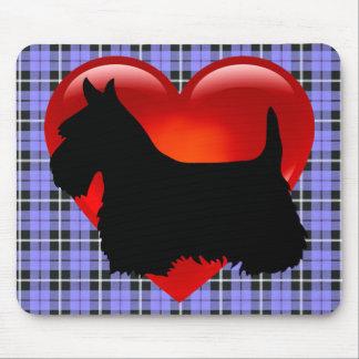 Scottish Terrier black silhouette, blue plaid Mouse Pad