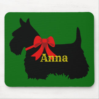 Scottish Terrier black silhouette, Island green Mouse Pad