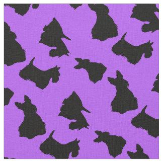 Scottish Terrier black silhouette, lavender Fabric