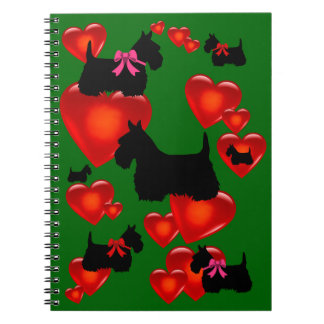 Scottish Terrier black silhouette red heart/bow Notebooks