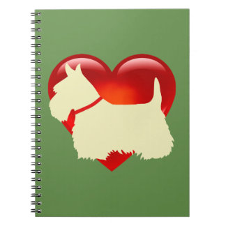Scottish Terrier black silhouette red heart collar Notebooks