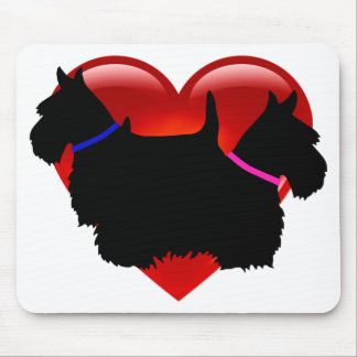 Scottish Terrier black silhouette, Scotland dog Mouse Pad
