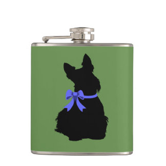 Scottish Terrier black silhouette sitting blue bow Hip Flask
