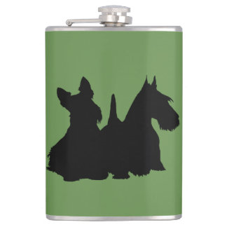 Scottish Terrier black silhouette sitting/standing Hip Flask