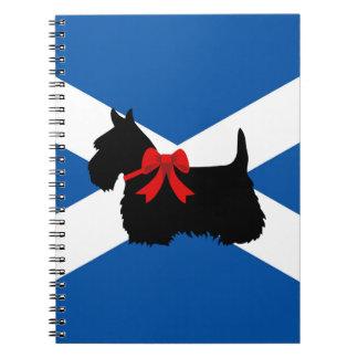 Scottish Terrier black silhouette, St. Andrew flag Notebook