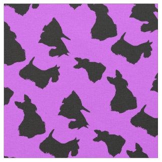 Scottish Terrier black silhouette, warm lavender Fabric