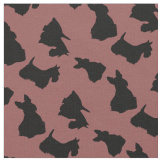 Scottish Terrier black silhouette, zazzle maroon Fabric