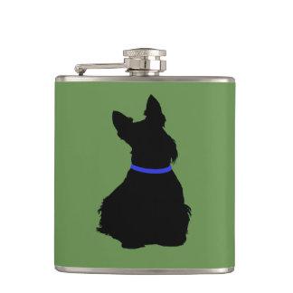 Scottish Terrier black sitting blue collar Hip Flask