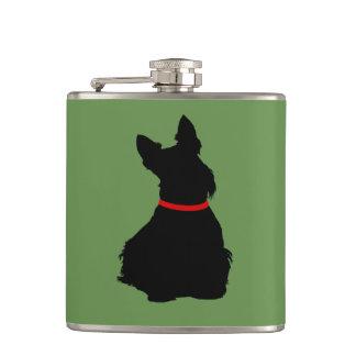 Scottish Terrier black sitting red collar Hip Flask