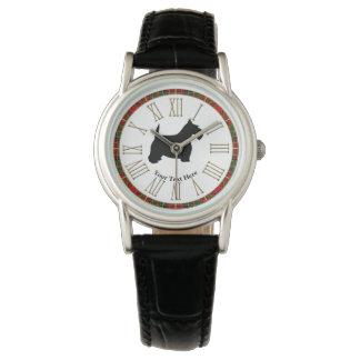 Scottish Terrier Black Tartan Ring Wristwatches